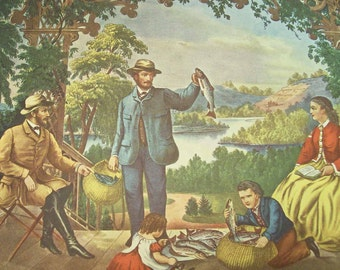 1952 Currier and Ives Trout Fishing Print - Vintage Americana Folk Art Illustration