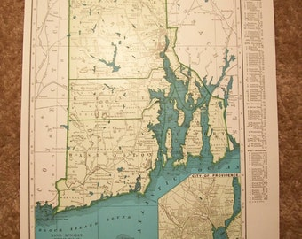 1947 State Map Rhode Island - Vintage Antique Map Great for Framing