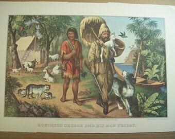 Currier and Ives Calendar Print - Robinson Crusoe - Vintage Americana Folk Art Illustration Great for Framing