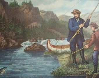 Currier and Ives Calendar Print - Salmon Fishing - Vintage Americana Folk Art Illustration Great for Framing