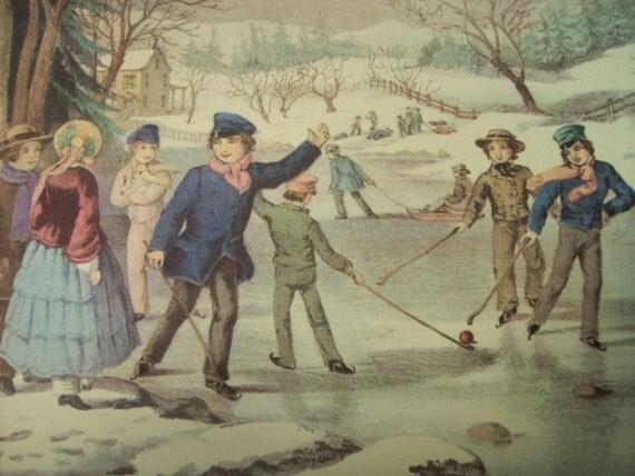 1952 Currier and Ives Winter Pastime Print - Vintage Americana Folk Art Illustration