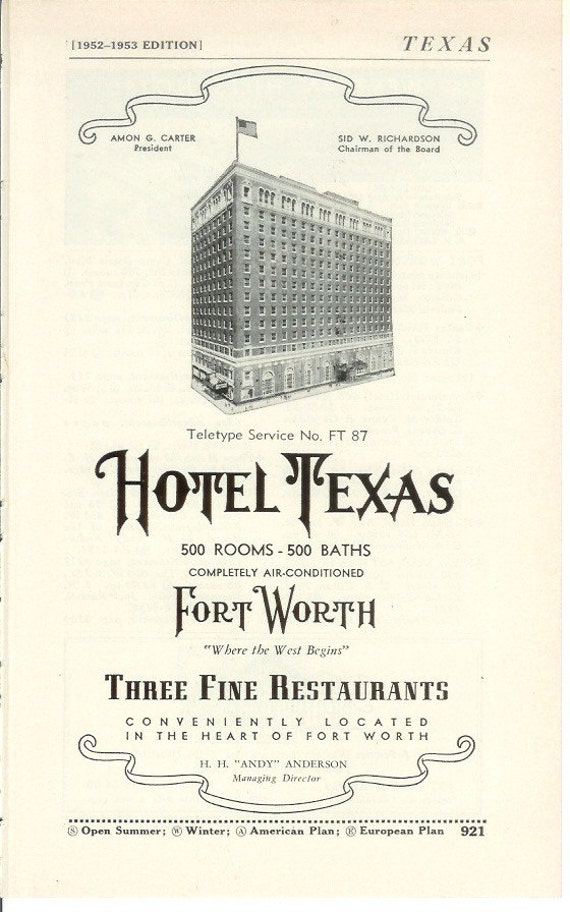 1950s Hotel Advertisement - Hotel Texas Fort Worth