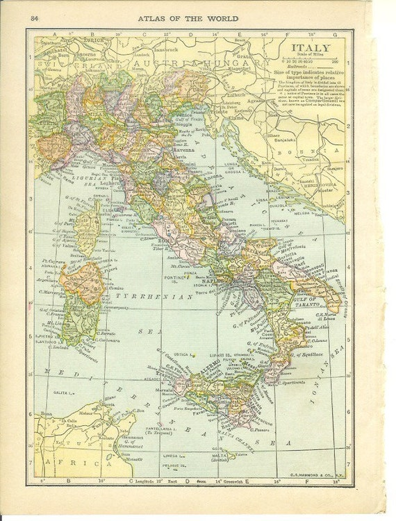 1911 Map Italy - Vintage Antique Map Great for Framing 100 Years Old