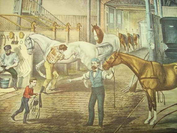 1952 Currier and Ives Horse Stable Print - Vintage Americana Folk Art Illustration