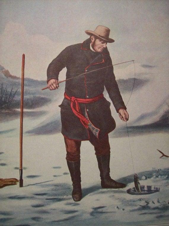 1952 Currier and Ives Ice Fishing Print - Vintage Americana Folk Art Illustration