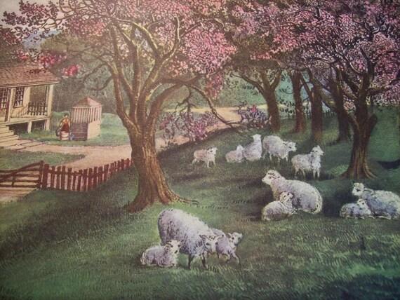 1952 Currier and Ives American Homestead Spring Print - Vintage Americana Folk Art Illustration