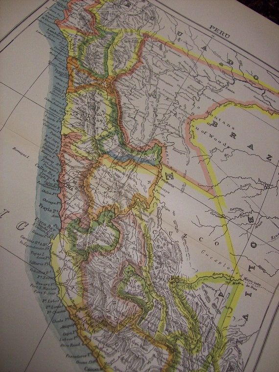 CLEARANCE SALE was 18 Bucks - 1896 Map Peru - Vintage Antique Map Great for Framing 100 Years Old