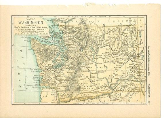 1891 State Map Washington Wyoming Vintage Antique: Vintage State Maps At Codeve.org