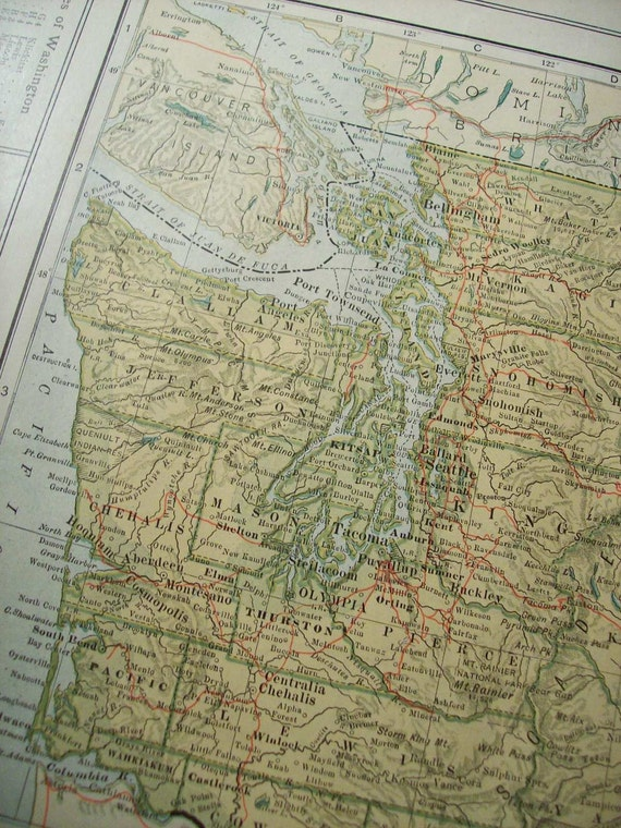 CLEARANCE SALE was 18 Bucks - 1907 State Map Washington - Vintage Antique Map Great for Framing 100 Years Old