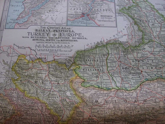 1911 Map Turkey in Europe - Vintage Antique Map Great for Framing 100 Years Old