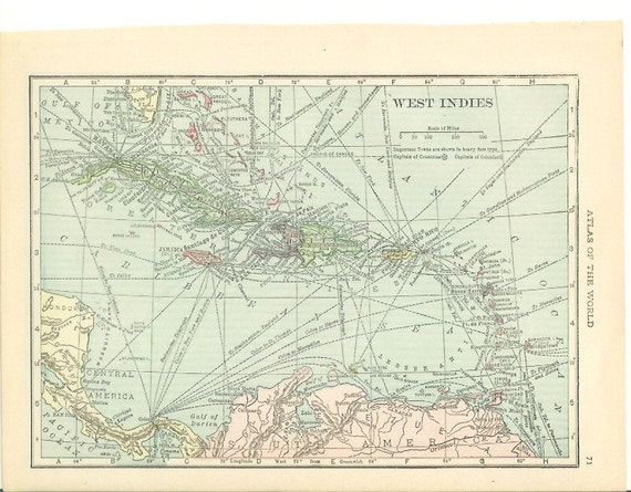 1917 West Indies / Mexico Map - Vintage Antique Map Great for Framing Nearly 100 Years Old