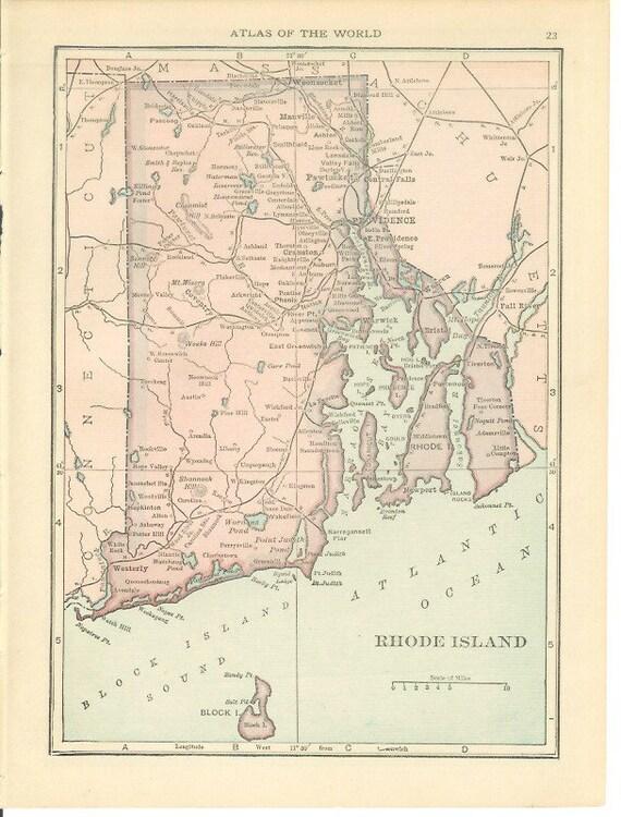 1915 State Map Connecticut  Rhode Island Vintage Antique