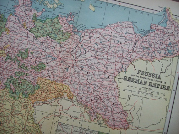 1903 Map German Empire - Vintage Antique Map Great for Framing 100 Years Old
