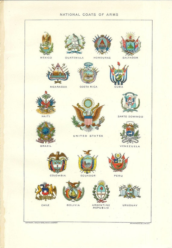 1903 National Coats of Arms Print - Vintage Antique Home Decor Book Plate Art Illustration for Framing 100 Years Old
