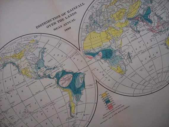 1903 Map World - Distribution of Rainfall - Vintage Antique Map Great for Framing 100 Years Old