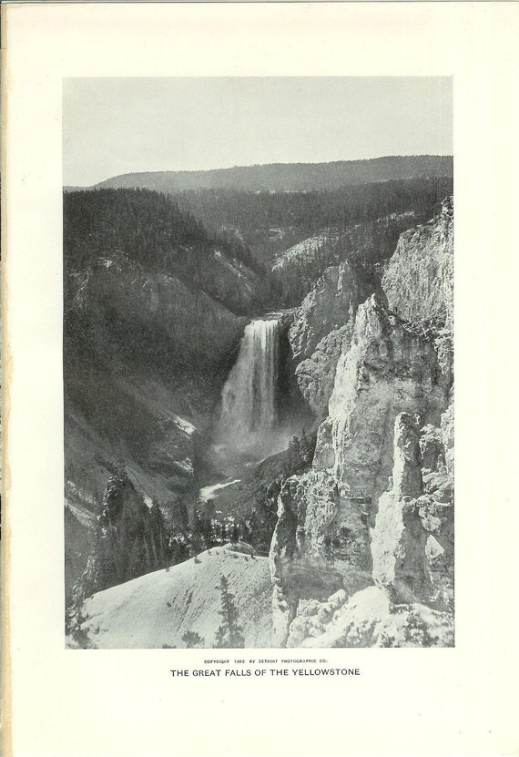 1903 Landscape Photograph - Great Falls Yellowstone National Park - Vintage Antique Art Print History Great for Framing 100 Years Old
