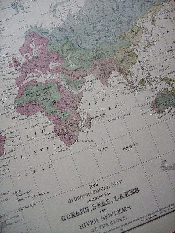 1867 Mitchell's World Map - Ocean Seas Lakes and Rivers - Vintage Antique Map Great for Framing 100 Years Old