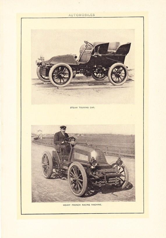 1903 Automobile Print Vintage Antique Home Decor Book Plate