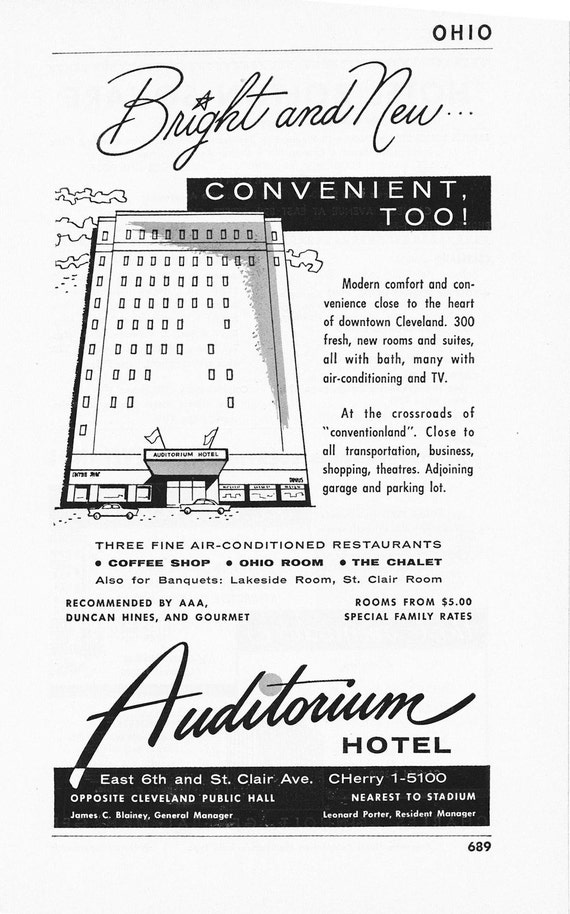 1950s Hotel Advertisement - Auditorium Hotel Cleveland Ohio - Vintage Antique Retro 50s Era Pop Art Ad for Framing 50 Years Old