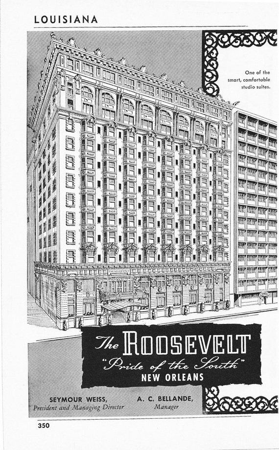 1950s Hotel Advertisement The Roosevelt Hotel New Orleans