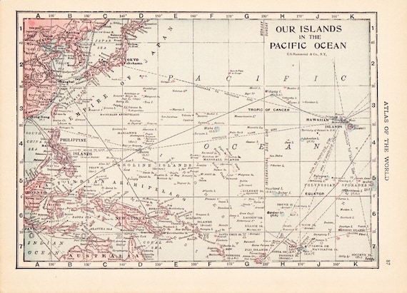 1917 Map South Pacific - Vintage Antique Map Great for Framing