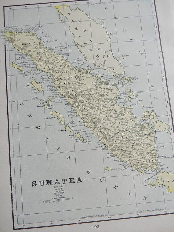 CLEARANCE SALE was 18 Bucks - 1898 Map Sumatra - Vintage Antique Map Great for Framing 100 Years Old