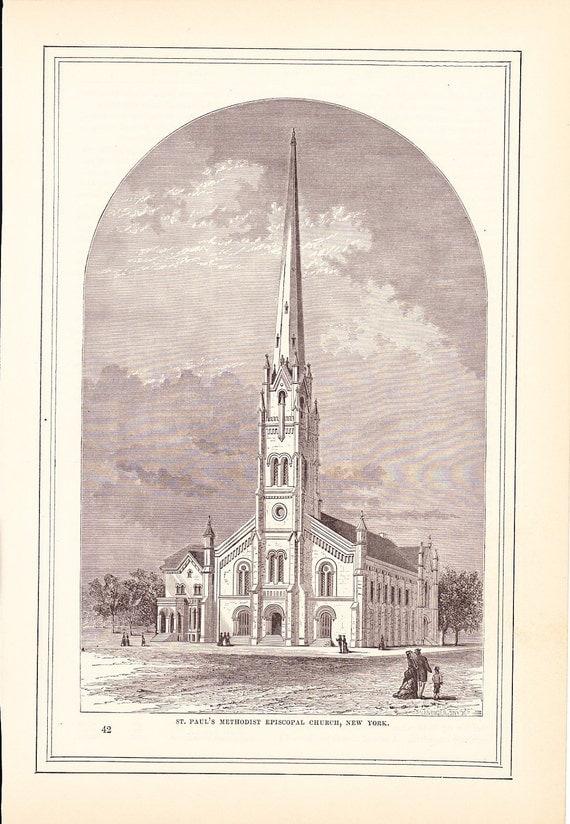 1883 Architecture Church Print - Saint Pauls Methodist Episcopal Church New York - Antique Art Illustration 100 Years Old