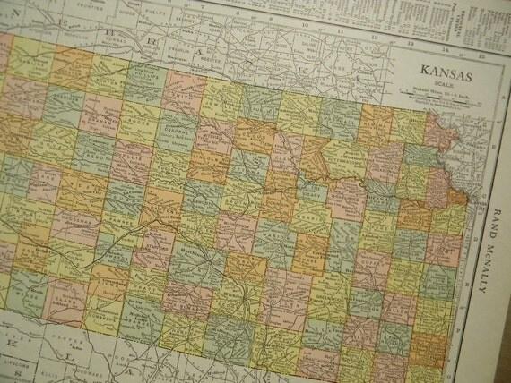 1916 State Map Kansas - Vintage Antique Map Great for Framing