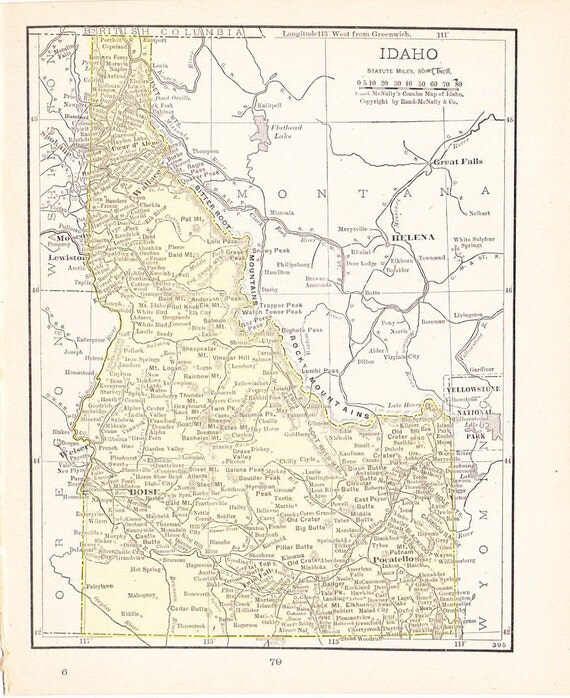 1916 State Map Idaho - Vintage Antique Map Great for Framing