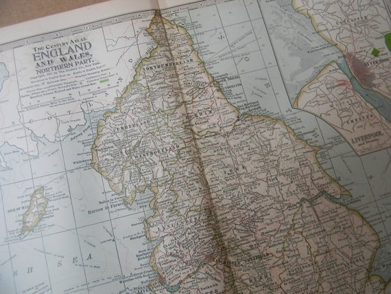 1897 Map Northern Part England and Wales - Vintage Antique Map Great for Framing 100 Years Old