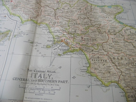 1897 Map Central and Southern Italy - Vintage Antique Map Great for Framing 100 Years Old