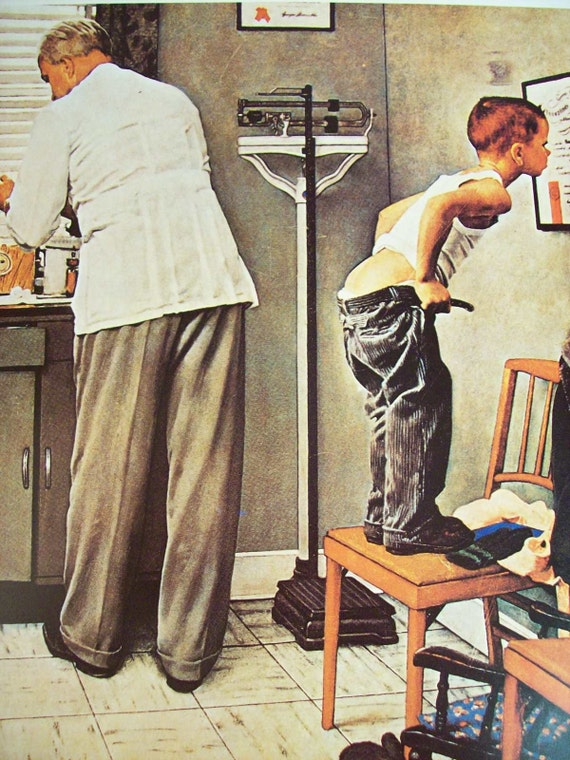 Vintage Norman Rockwell Doctor S Office Print