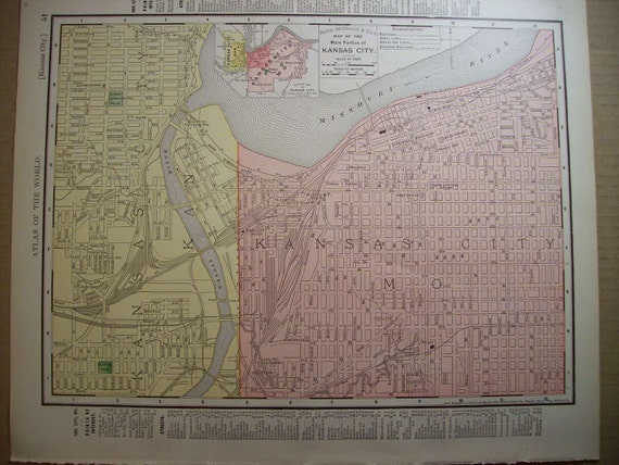 CLEARANCE SALE was 25 Bucks - 1897 Map Kansas City Kansas Missouri - Vintage Antique Map Great for Framing 100 Years Old