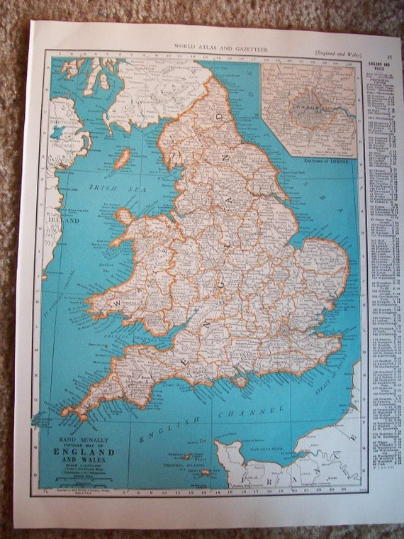 1940 Map England and Wales - Vintage Antique Map Great for Framing
