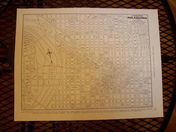 1942 City Map Downtown Philadelphia Pennsylvania - Vintage Antique Map Great for Framing