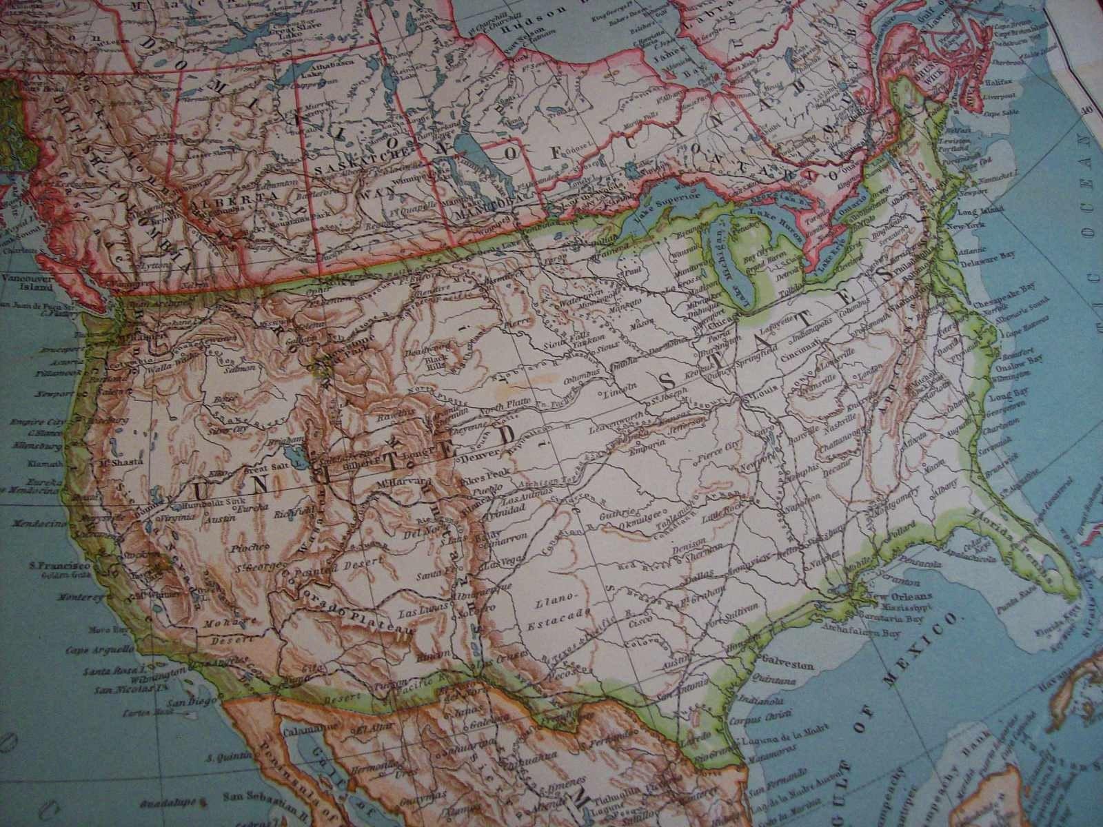 1911 Map North America Vintage Antique Map