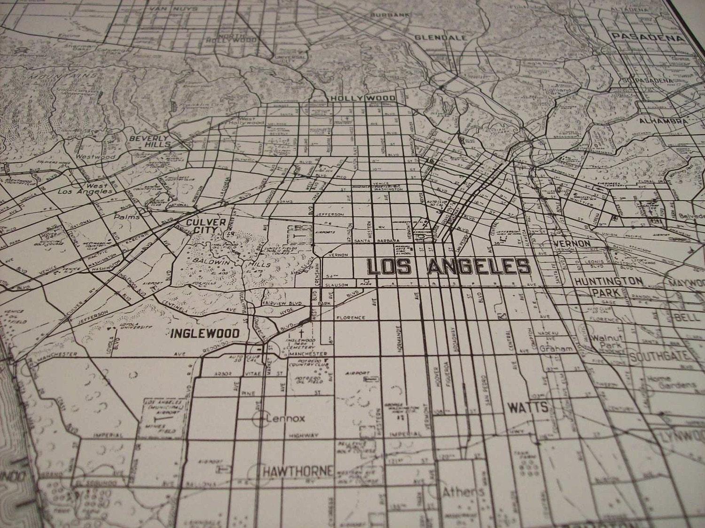 City Map Los Angeles California Vintage Antique Map - Los angeles map vintage