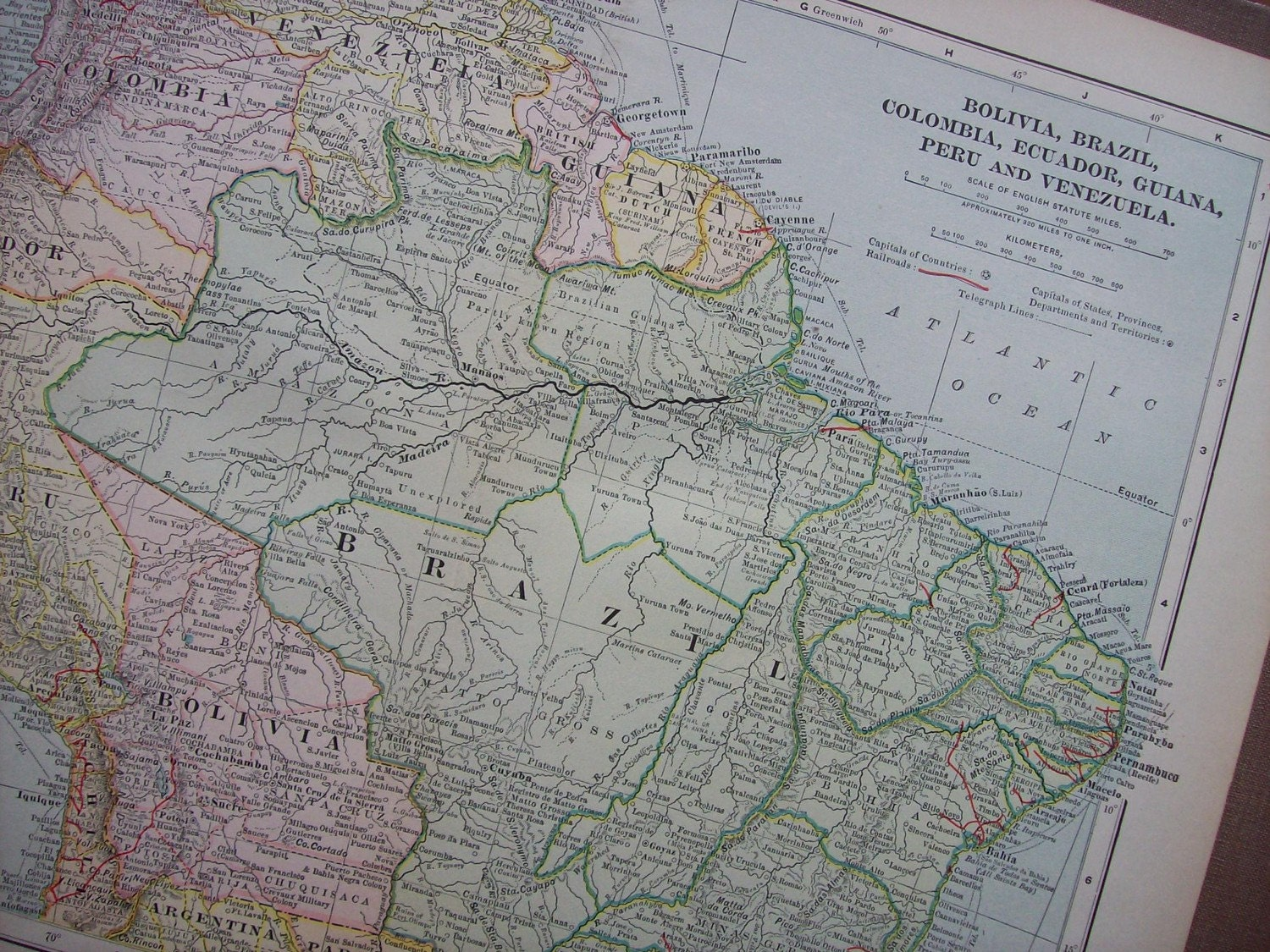 1903 Map Northern South America Vintage Antique Map Great
