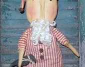 LISTING FOR TODD Primitive Santa and Crow Doll