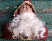 Primitive Folk Art Santa Doll Ornie