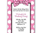 15 Bow and Polka Dots Invitations Pink White for Girls Birthday Party