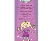 15 Dancing Disco Girl Invitations for Kids Birthday Party