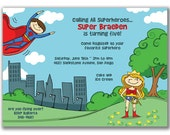 15 Superman Saves Wonder Woman Invitations for Kids Birthday Party