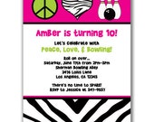 15 Peace Love and Bowling Invitations for Kids Birthday Party