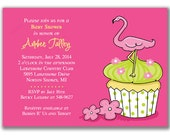 15 Pink Flamingo on Cupcake Invitations for Kids Birthday Party or Baby Shower