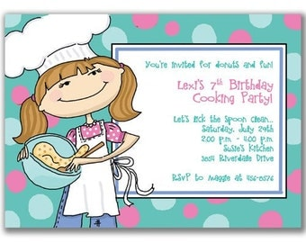 15 Cooking Girl Invitations for Kids Birthday Party