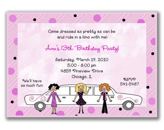 15 Limo Girls Invitations for Girls Birthday Party