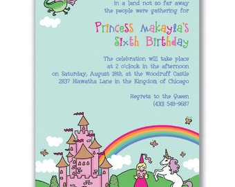 15 Princess and Unicorn Invitations for Girls Birthday Party