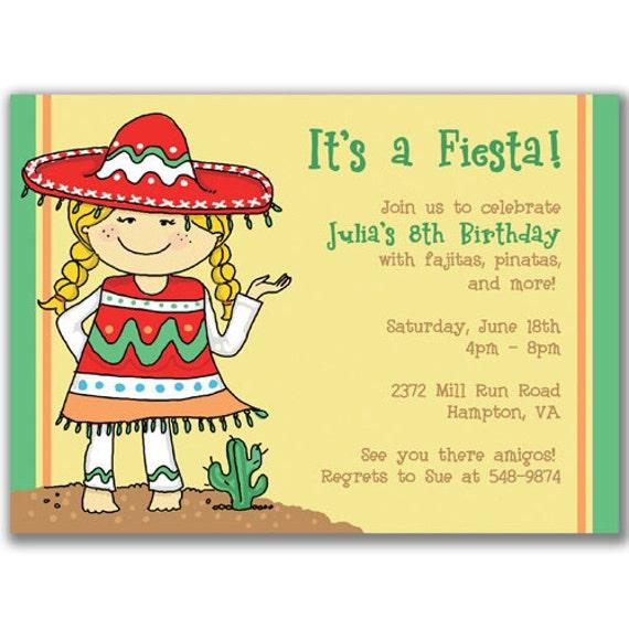 Items Similar To 15 Fiesta Girl Invitations For Kids