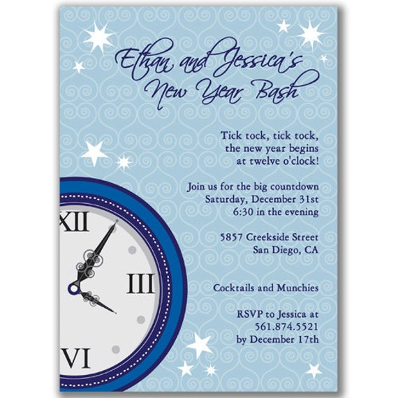 Clock Invitations for New Year's Eve Party by milelj on Etsy